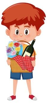 Garçon tenant le personnage de dessin animé de panier pique-nique isolé sur fond blanc