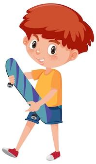 Garçon tenant le personnage de dessin animé de skateboard isolé sur fond blanc