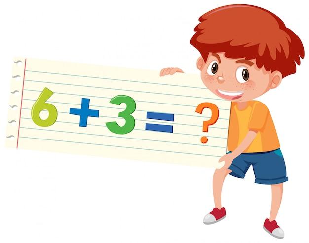Garçon tenant une question mathématique d'addition