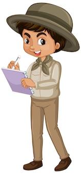 Garçon en tenue de safari sur blanc
