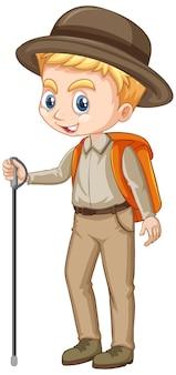 Garçon en tenue de safari sur fond isolé