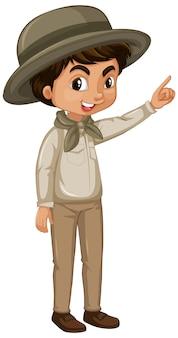 Garçon en tenue de safari
