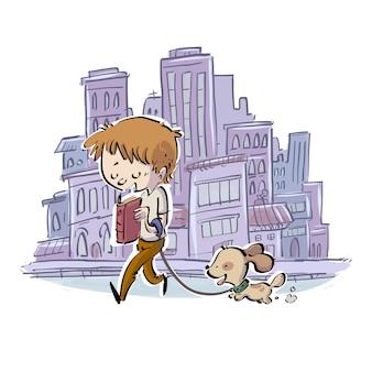 Garçon en train de lire en promenant son chien en ville