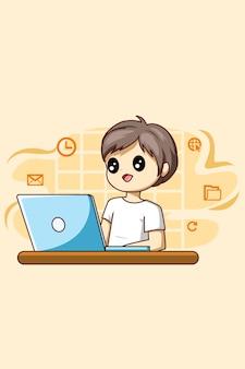 Garçon travaillant avec une illustration de dessin animé pour ordinateur portable