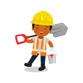 Garçon de travailleur ingénieur mignon tenant une pelle et un seau en métal conception de dessin animé de vecteur plat