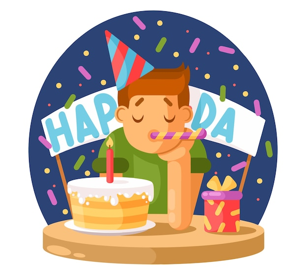 Garçon triste et un gâteau d'anniversaire.