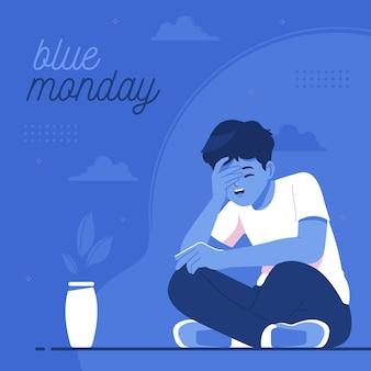 Garçon triste sur illustration de concept lundi bleu