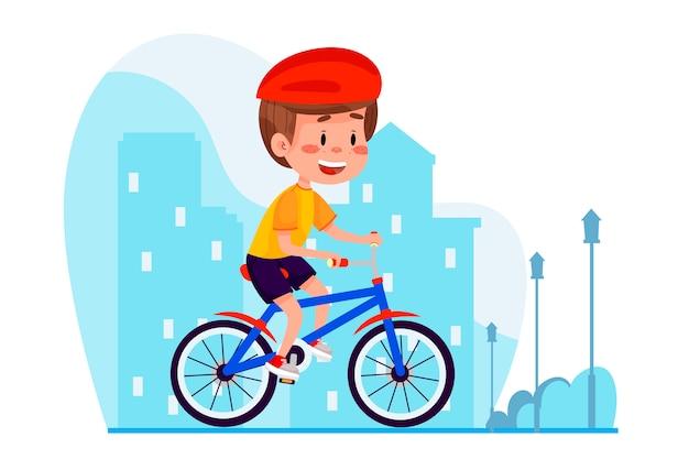 Garçon à vélo en ville sur fond de style web. activités de plein air pour les enfants d'été. enfant à vélo en été à l'extérieur.