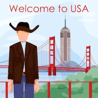 Garçon en veste et chapeau de cowboy sur le paysage de fond aux etats-unis.