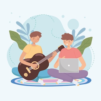 Garçons apprenant la guitare