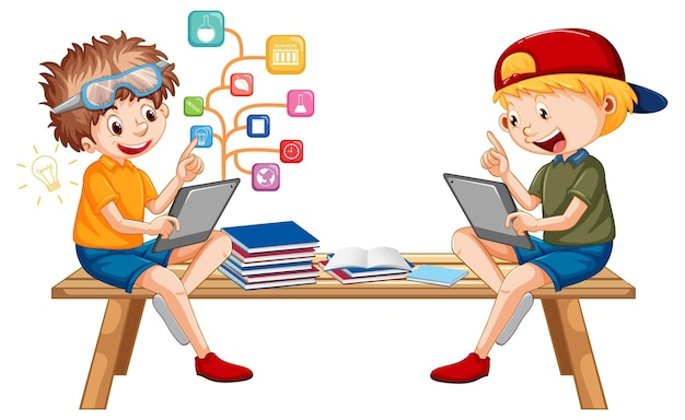 Garçons apprenant en ligne à partir d'une tablette