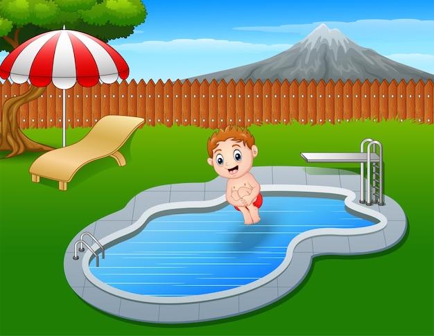 Les garçons de bande dessinée sautent dans la piscine tout en style