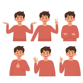 Garçons avec diverses poses, set vector