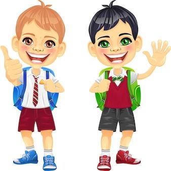 Garçons d'écoliers souriants heureux de vecteur