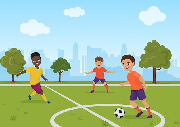 Garçons enfants jouant au football soccer. illustration.