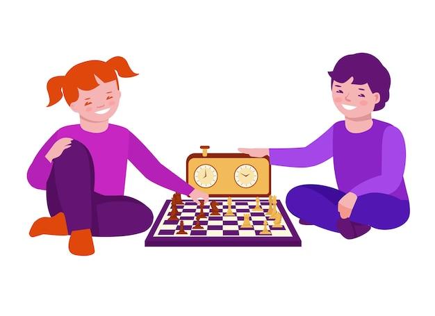 Des garçons et une fille jouent aux échecs assis par terre. illustration vectorielle en style cartoon plat. isolé sur fond blanc.