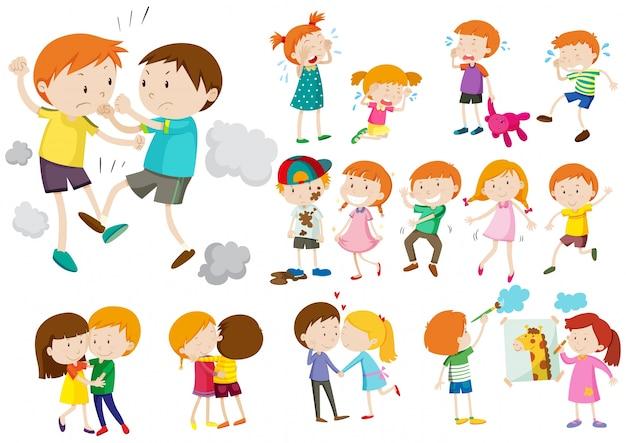 Garçons et filles dans différentes actions illustration