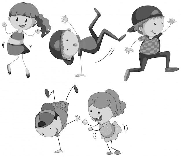 Garçons et filles dansant
