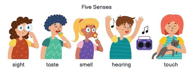 Garçons et filles démontrant cinq sens humains. enfants fixés pour le matériel d'apprentissage. la vue, le goût, l'odorat, l'ouïe et le toucher.