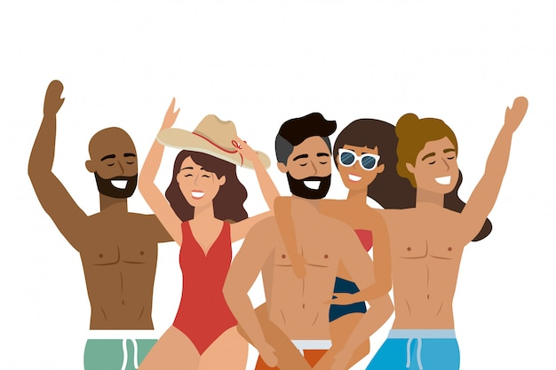 Garçons et filles avec maillots de bain d'été
