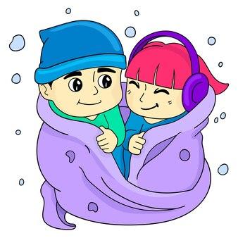 Garçons et filles se couvraient et s'aimaient. dessin animé illustration vectorielle