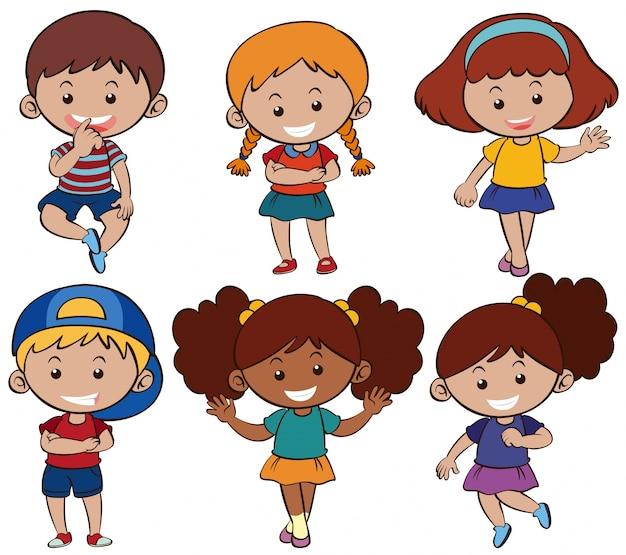 Garçons et filles avec un sourire heureux