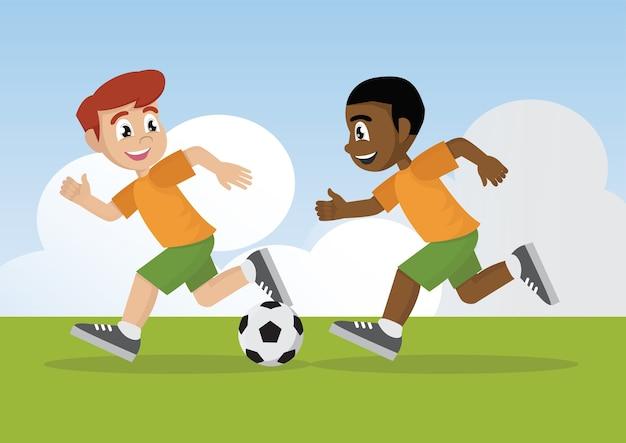 Les garçons jouent au football.