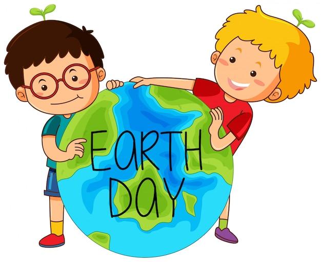 Garçons avec le jour de la terre