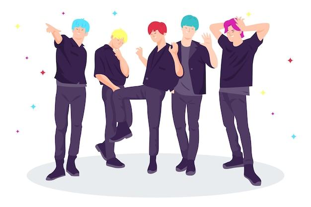 Garçons k-pop debout ensemble
