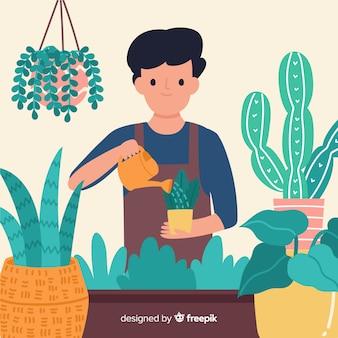 Garçons s'occupant des plantes