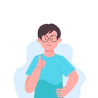 Garçons thumbs up ok gesture illustration