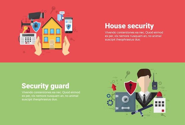 Garde d'assurance de sécurité à la maison d'assurance bannière web plat vector illustration