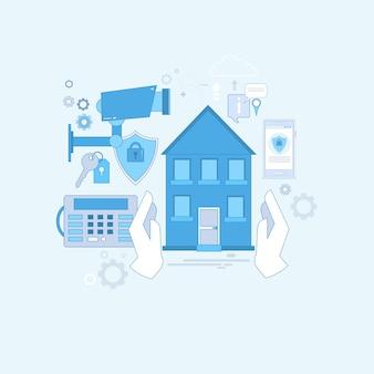 Garde d'assurance de sécurité à la maison d'assurance web bannière illustration vectorielle