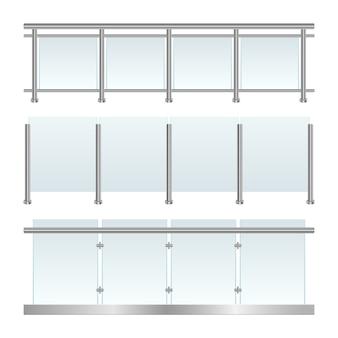 Garde-corps en verre mis en illustration sur fond blanc