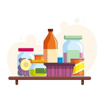 Garde-manger design plat sur étagère en bois