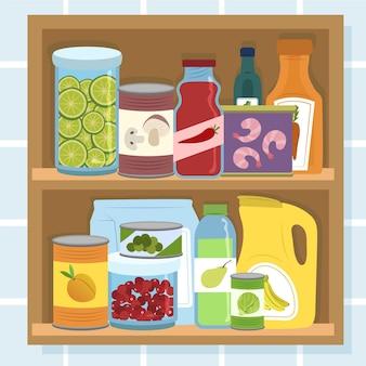 Garde-manger dessiné à la main dans une armoire