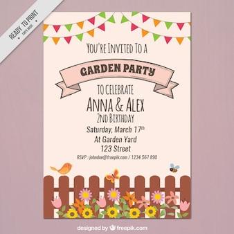 Garden party flyer avec une clôture et guirlandes