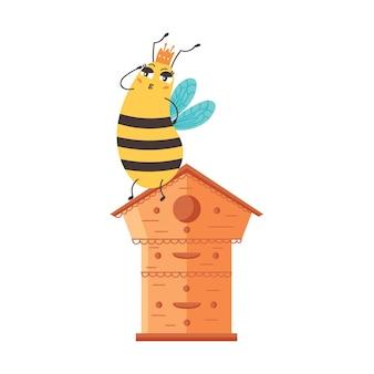 Les gardes de la reine des abeilles assis ruche