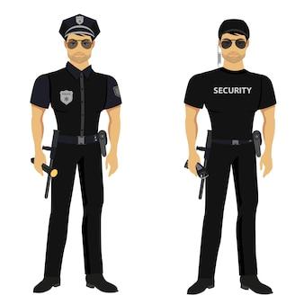 Gardes de sécurité et de police isolés.