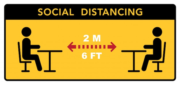 Gardez une distance sociale dans les restaurants et les cafés. les tables des visiteurs sont situées à une distance de sécurité.