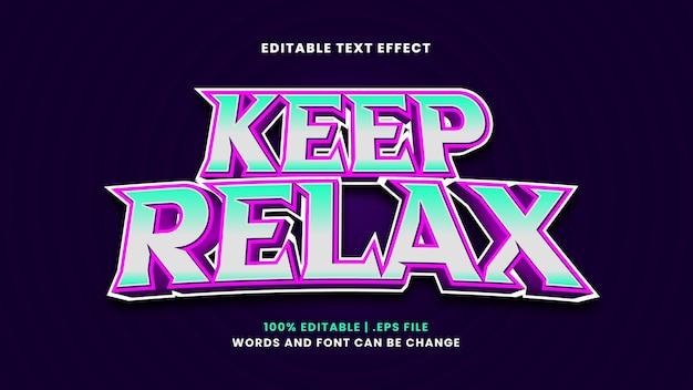 Gardez l'effet de texte modifiable relaxant dans un style 3d moderne