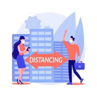 Gardez l'illustration vectorielle de distance concept abstrait. distanciation sociale, prévention de la propagation du virus, mesures d'autoprotection, masque de port, état d'urgence, travail à distance, métaphore abstraite du bureau à domicile.