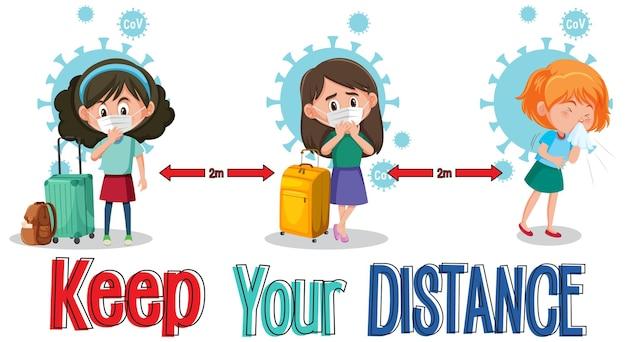 Gardez votre bannière de distance avec un personnage de dessin animé