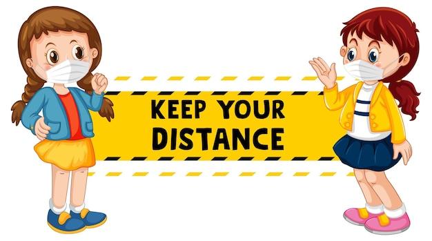 Gardez votre conception de police à distance avec deux enfants en gardant la distance sociale isolée sur blanc