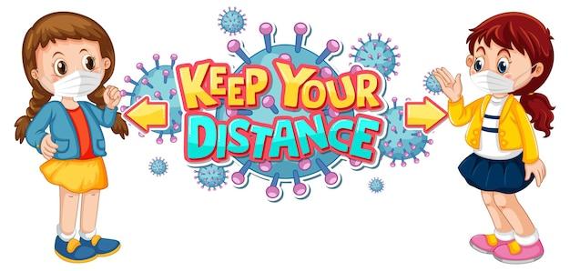 Gardez votre conception de police à distance avec deux enfants en gardant une distance sociale isolée sur fond blanc