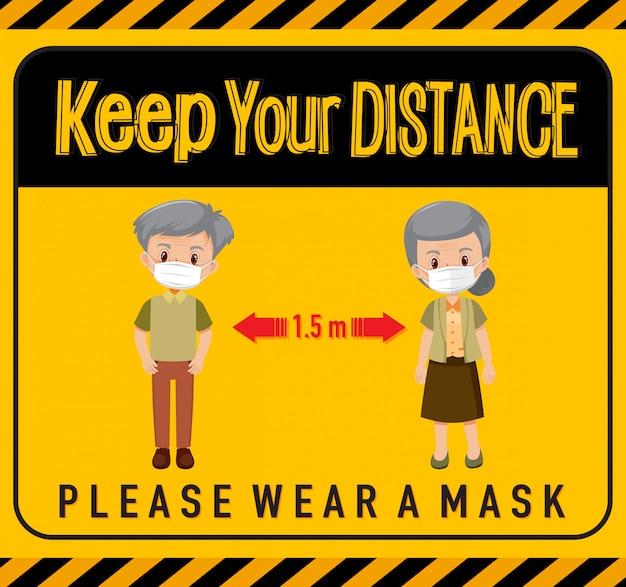 Gardez votre distance ou signe de distance sociale avec des personnages de catoon de personnes âgées
