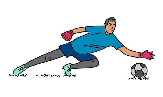 Le gardien de but de football saute attrape le ballon