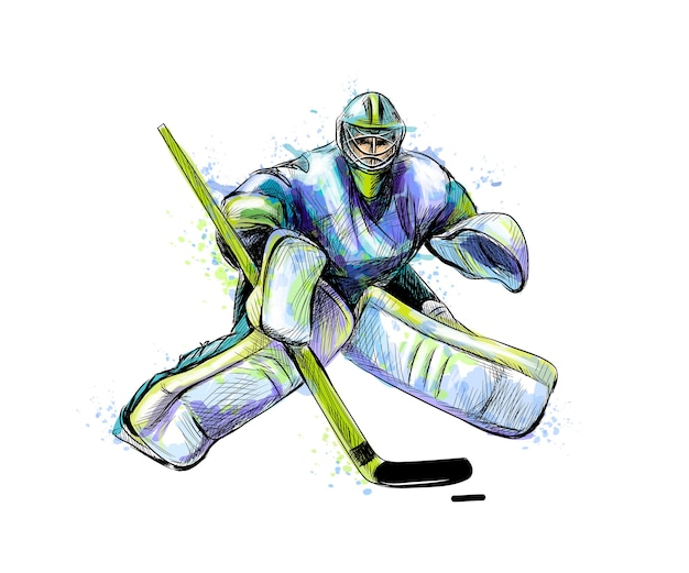Gardien de but de hockey abstrait de splash d'aquarelles. croquis dessiné à la main. sport d'hiver. illustration de peintures