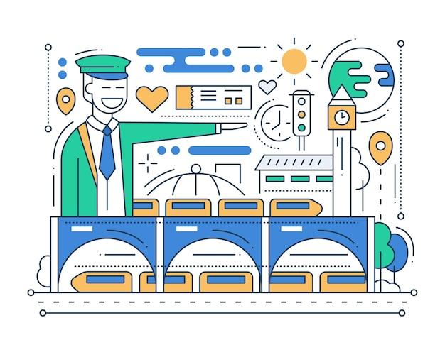 Gare - composition de ville design plat ligne moderne avec chef de gare