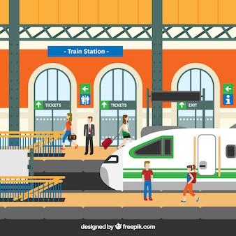 Gare ferroviaire avec des personnages en conception plate